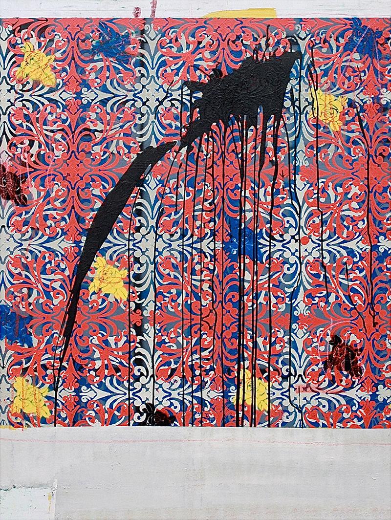 13.100 cm x 120 cm, acrylique, produit chimique, encre, 2012